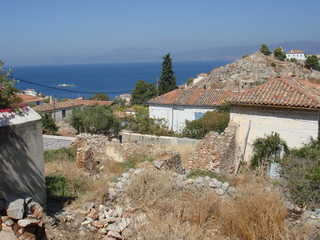 A building plot with sea views in Hydra town.